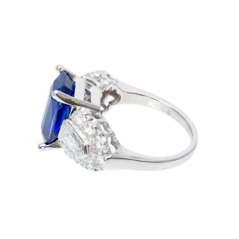 deco 5 28 carat emerald cut sapphire platinum