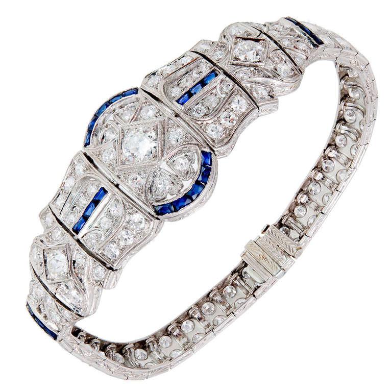 Art Deco Sapphire Diamond Engraved Gold Platinum Bracelet