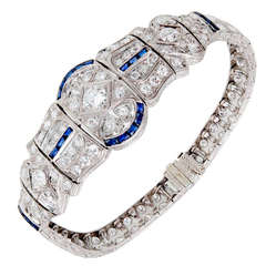 Art Deco Sapphire Diamond Engraved Gold Platinum Bracelet
