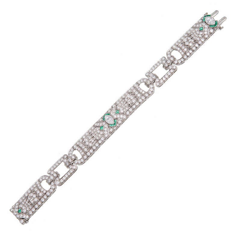 Diamond Emerald Art Deco Platinum Bracelet