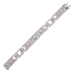 9 Carat Diamond Emerald Art Deco Platinum Bracelet
