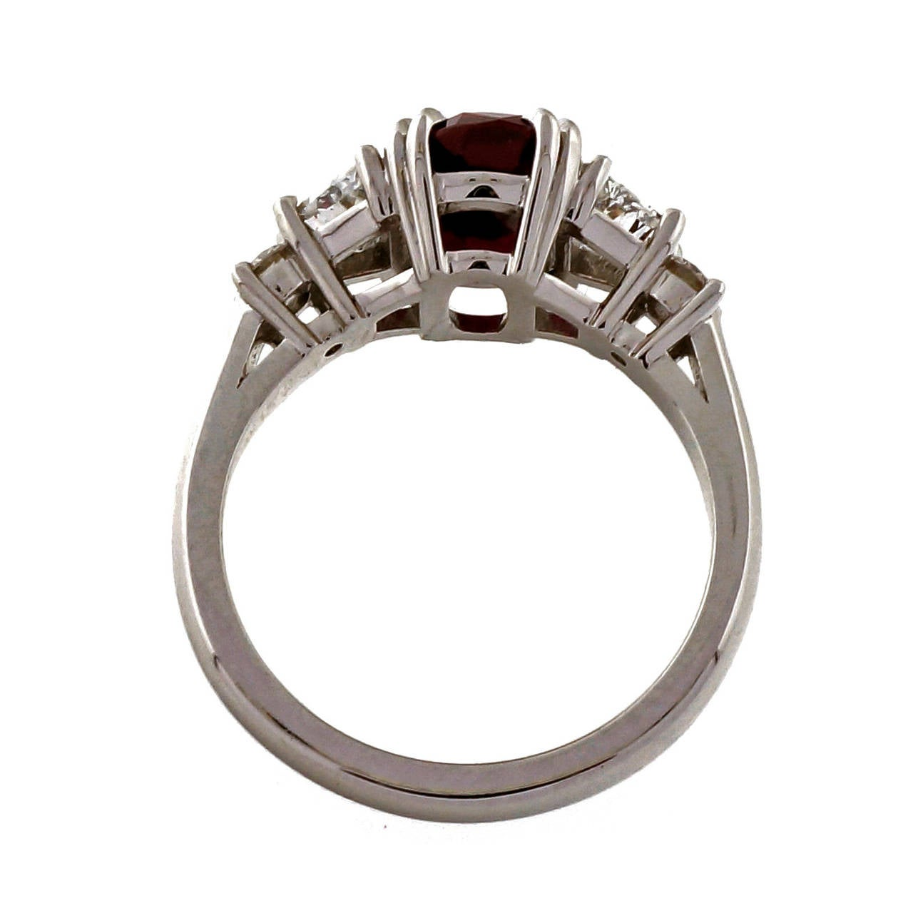 Peter Suchy 2.96 Carat Red Oval Ruby Diamond Platinum Engagement Ring 5