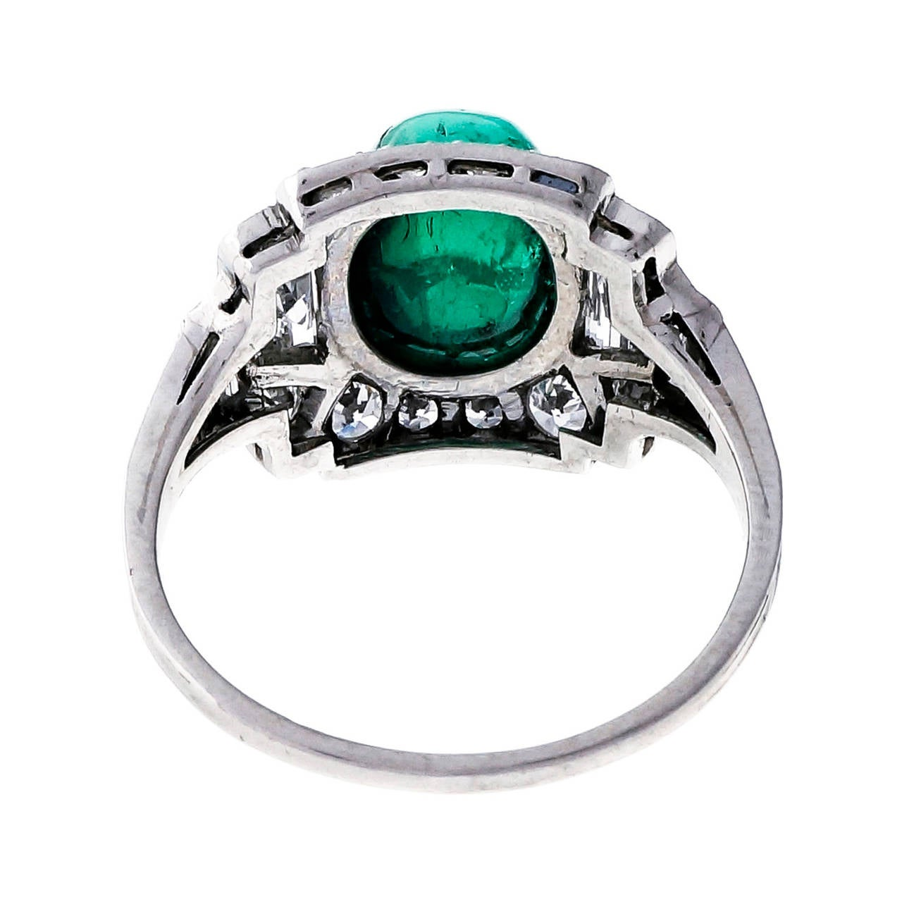 Sugarloaf Cabochon Colombian Emerald, Diamond, And Platinum Ring 3