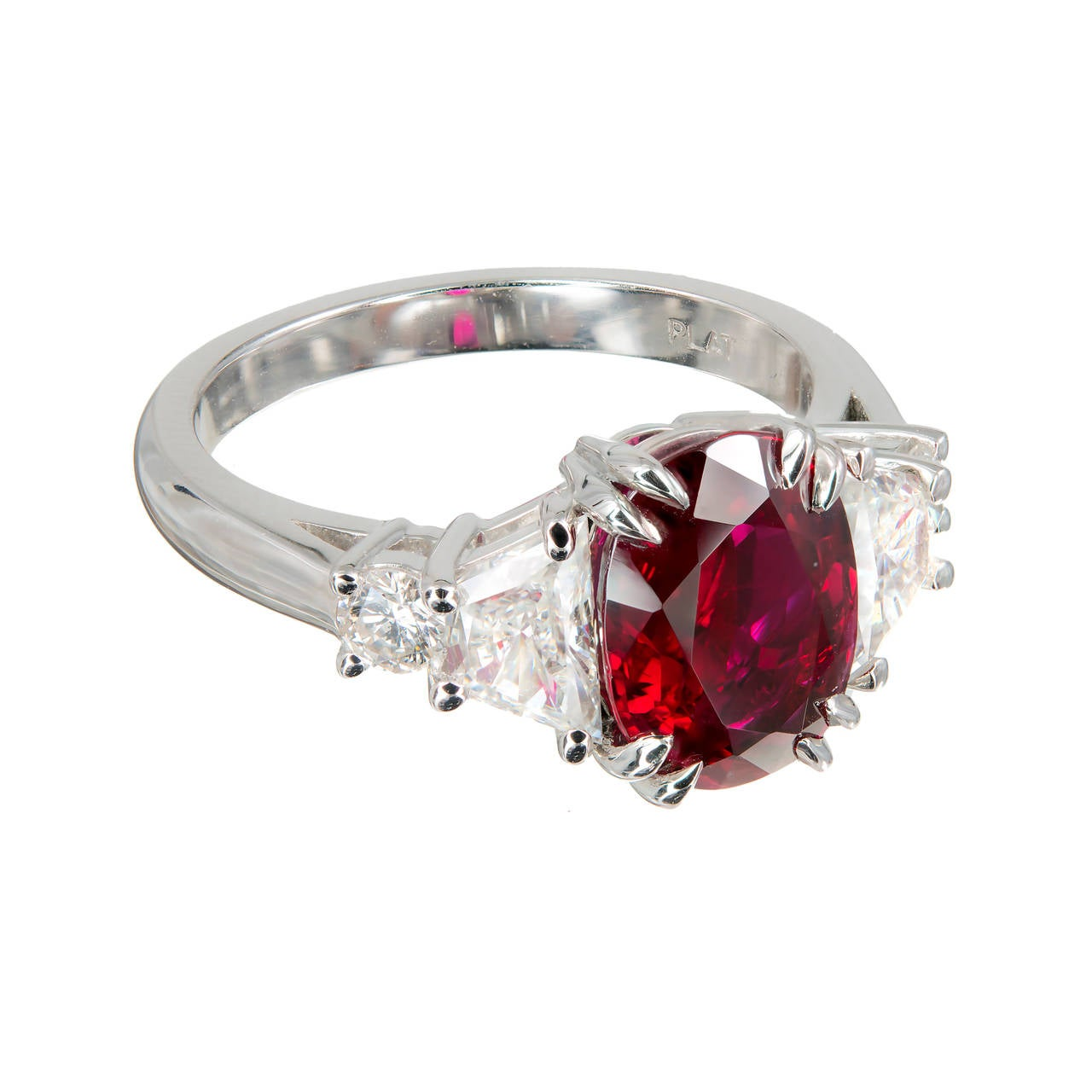 Peter Suchy 296 Carat Red Oval Ruby Diamond Platinum Engagement Ring 3