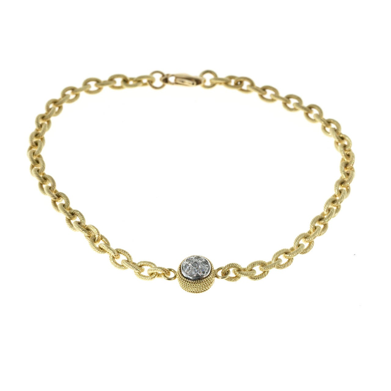 Diamond Textured Gold Link Bracelet For Sale 3