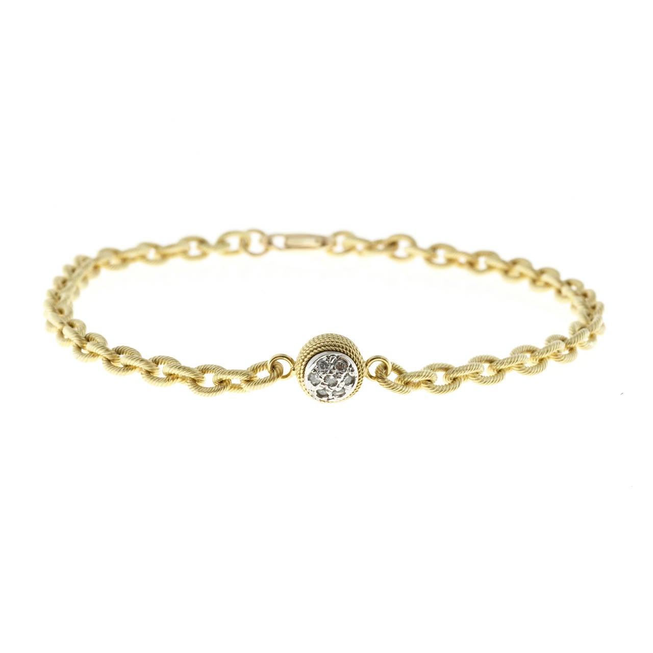 Women's Diamond Textured Gold Link Bracelet For Sale