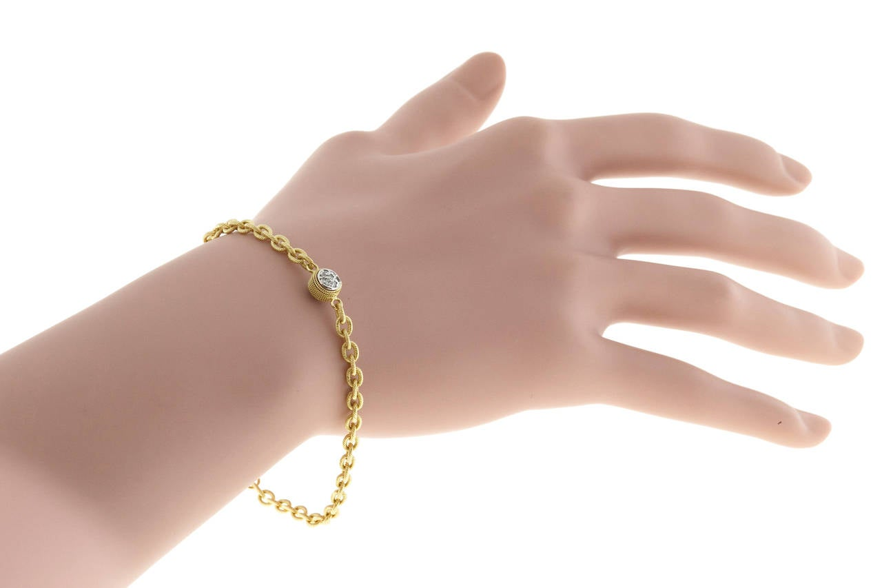 Diamond Textured Gold Link Bracelet For Sale 2