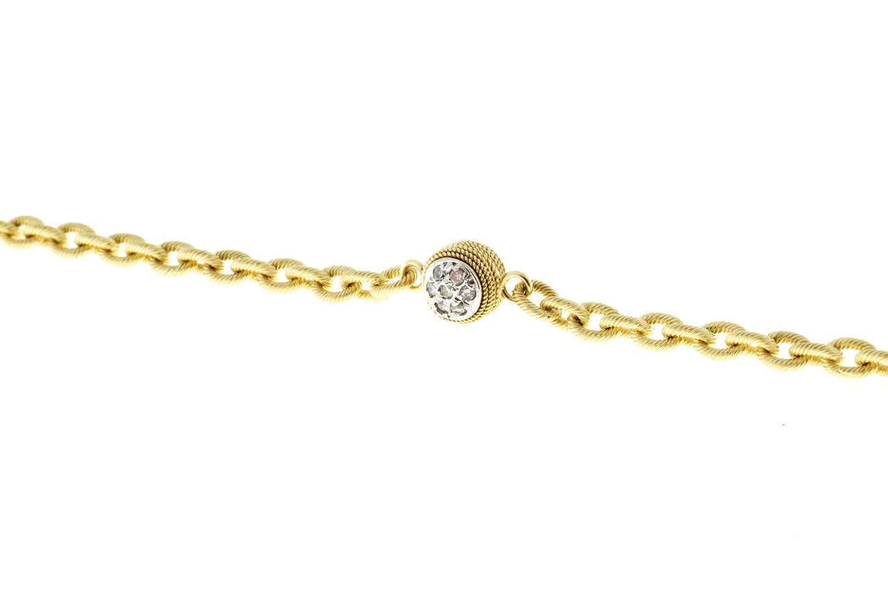 Diamond Textured Gold Link Bracelet For Sale 1