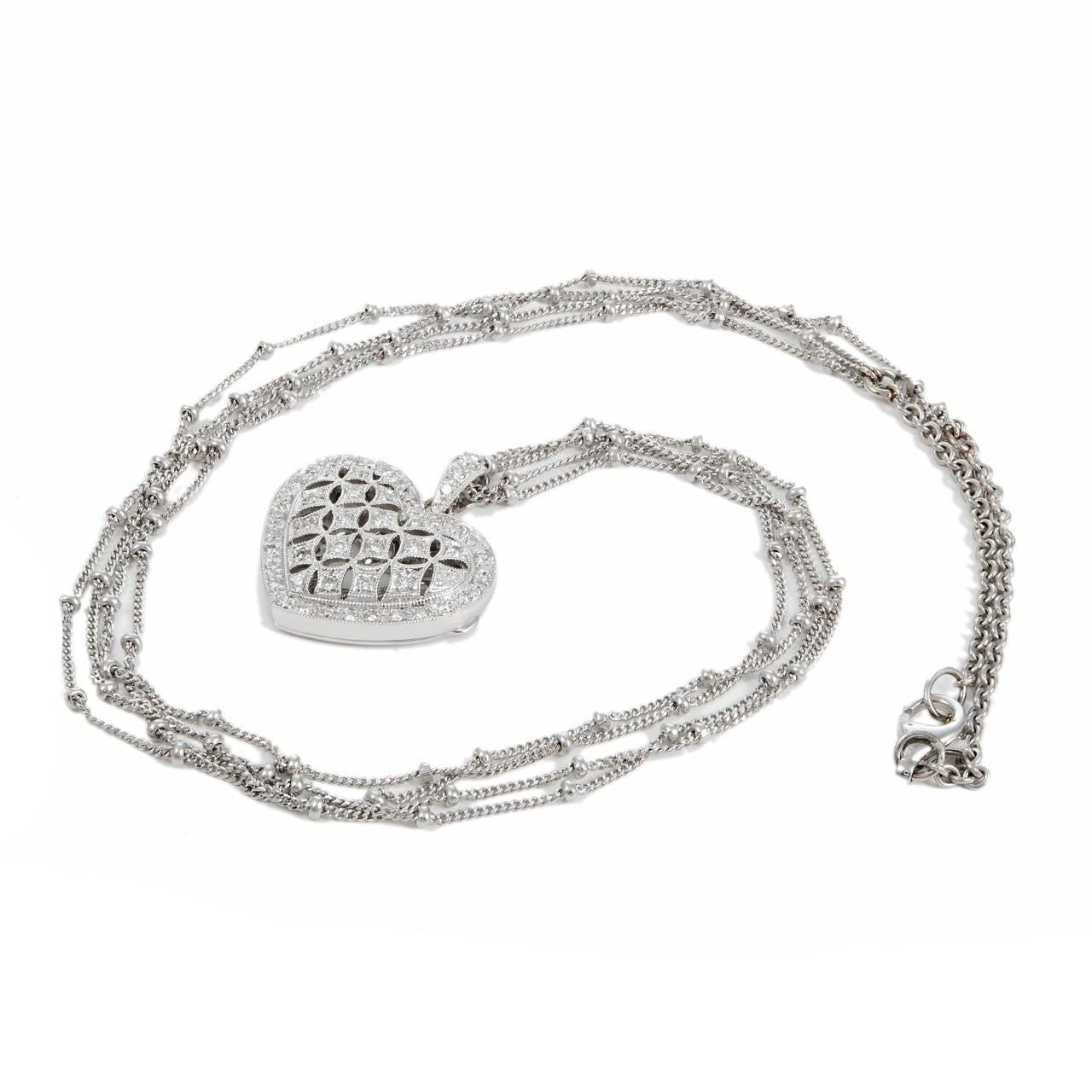Diamond Gold Open Work Heart Locket Pendant Chain 2