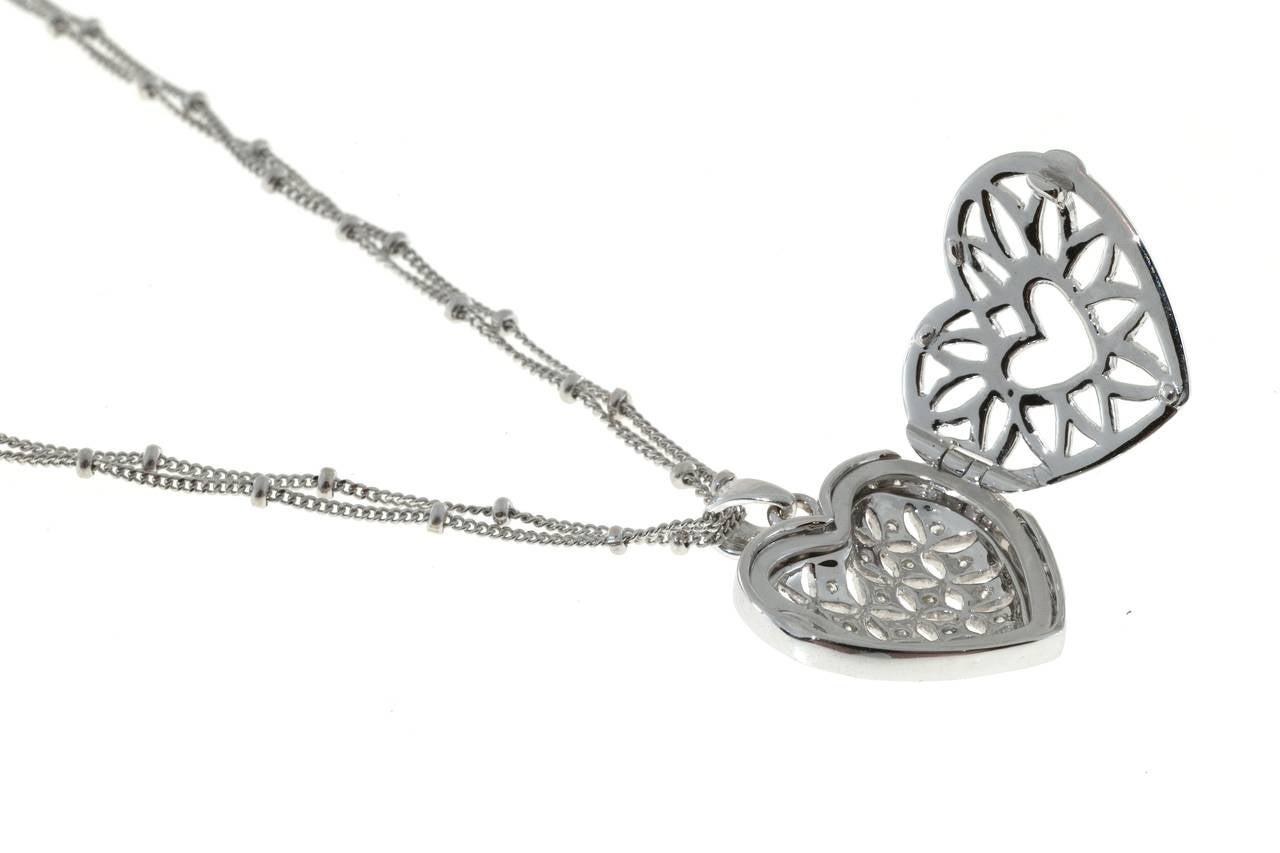 Diamond Gold Open Work Heart Locket Pendant Chain For Sale 2