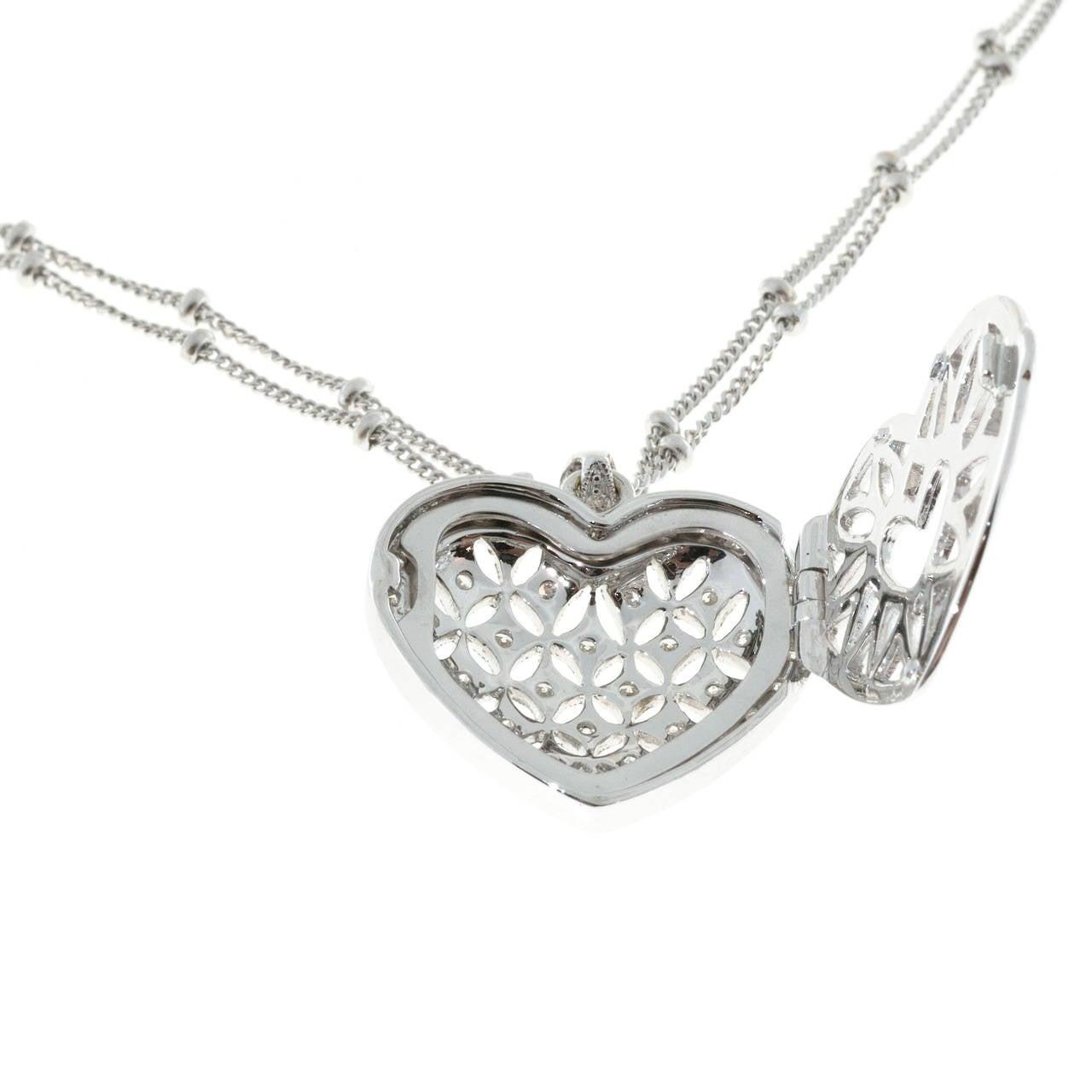 Diamond Gold Open Work Heart Locket Pendant Chain For Sale 1