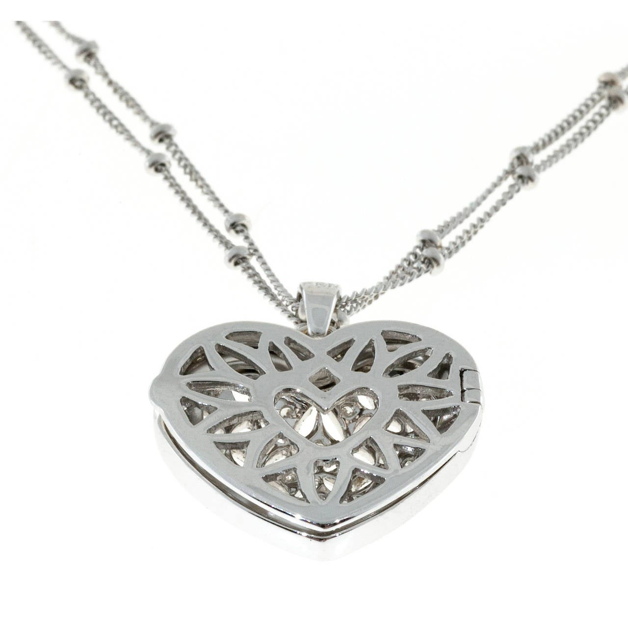 Diamond Gold Open Work Heart Locket Pendant Chain In Good Condition For Sale In Stamford, CT