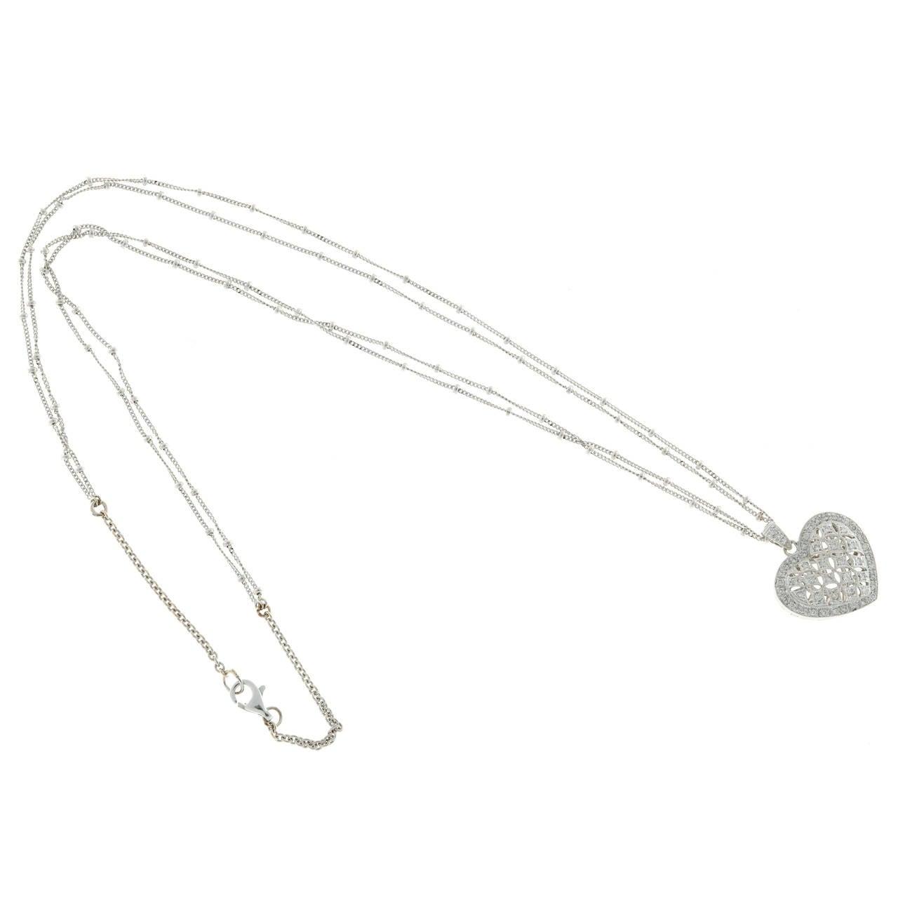 Women's Diamond Gold Open Work Heart Locket Pendant Chain For Sale
