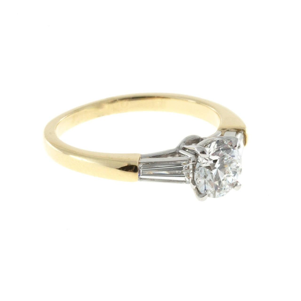 Round 90 Carat Gia Cert Diamond Tapered Baguette Gold Platinum Ring 2