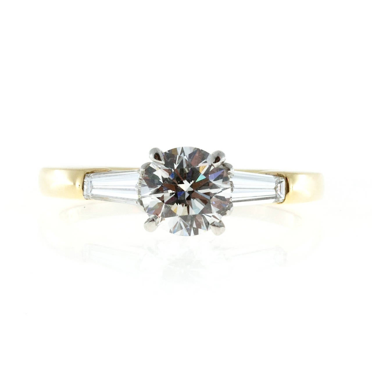 Round 90 Carat Gia Cert Diamond Tapered Baguette Gold Platinum Ring 3