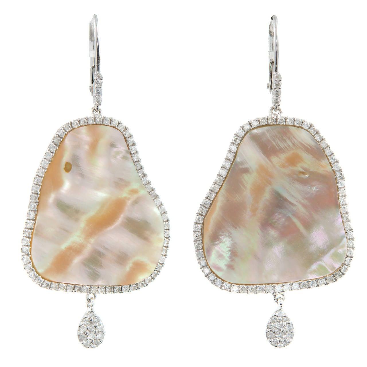 Meira T Mother of Pearl Diamond Gold Dangle Earrings