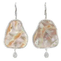 Meira T Mother of Pearl Diamond Gold Dangle Earrings