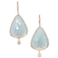 Meira T Aquamarine Diamond Micro-Pave Gold Dangle Earrings