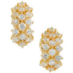 Kurt Gutmann Three-Row Diamond and Gold Earrings