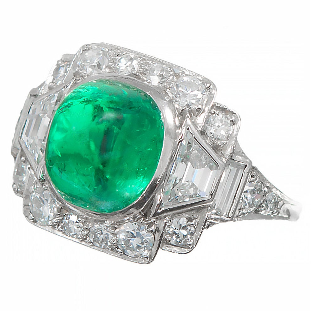 Sugarloaf Cabochon Colombian Emerald, Diamond, And Platinum Ring 2