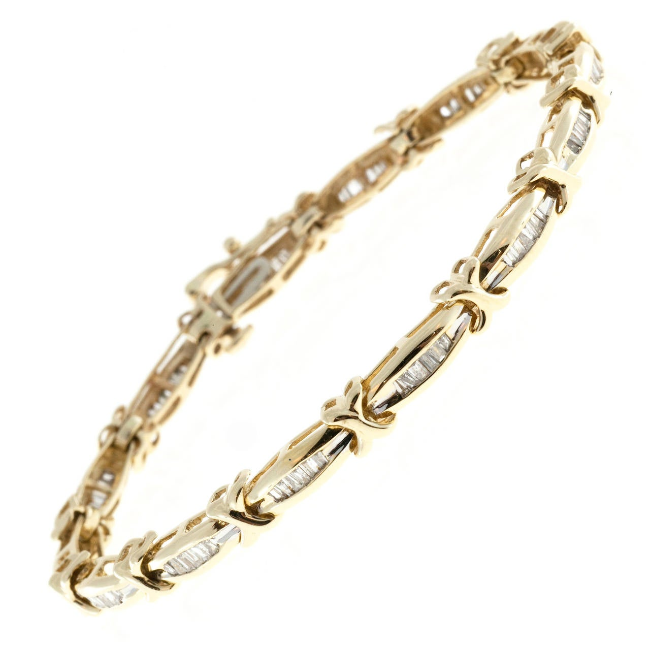 "Diamond Gold ""X"" Hinged Link Bracelet"