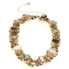 Cameo Multicolor Bead Gold Slide Bracelet
