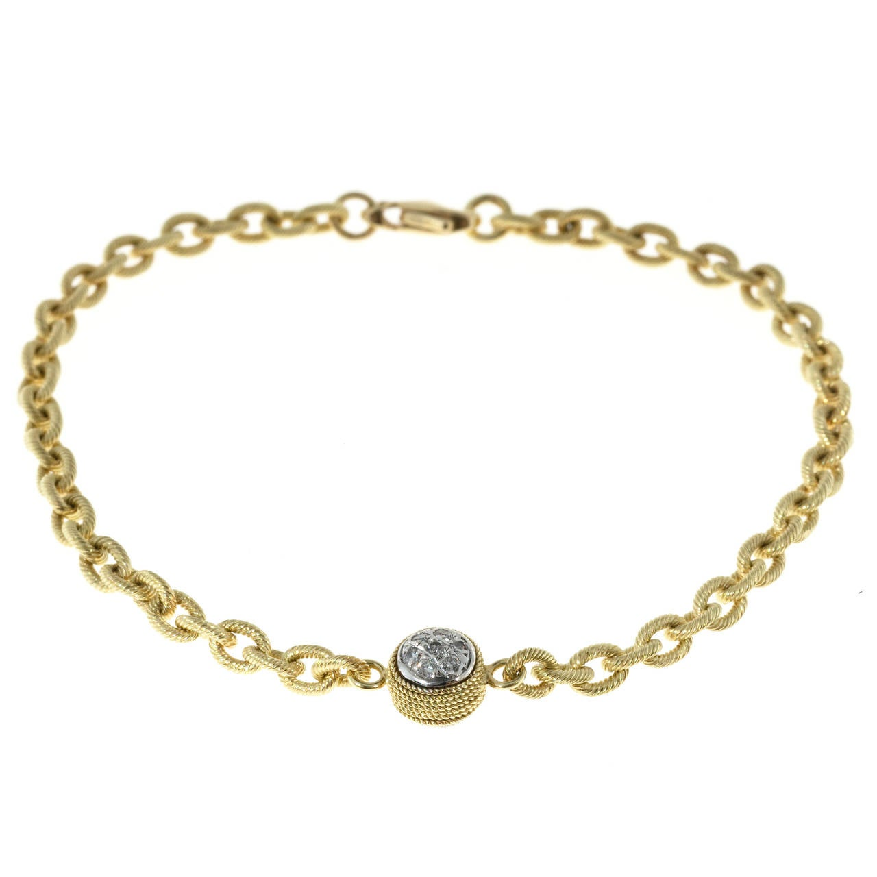 Diamond Textured Gold Link Bracelet