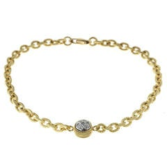 Diamond Textured Gold Link Bracelet