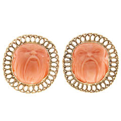 Carved Angel Skin Coral Gold Ear Clips