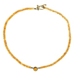 Robin Rotenier Natural Citrine Yellow Gold Bead Necklace