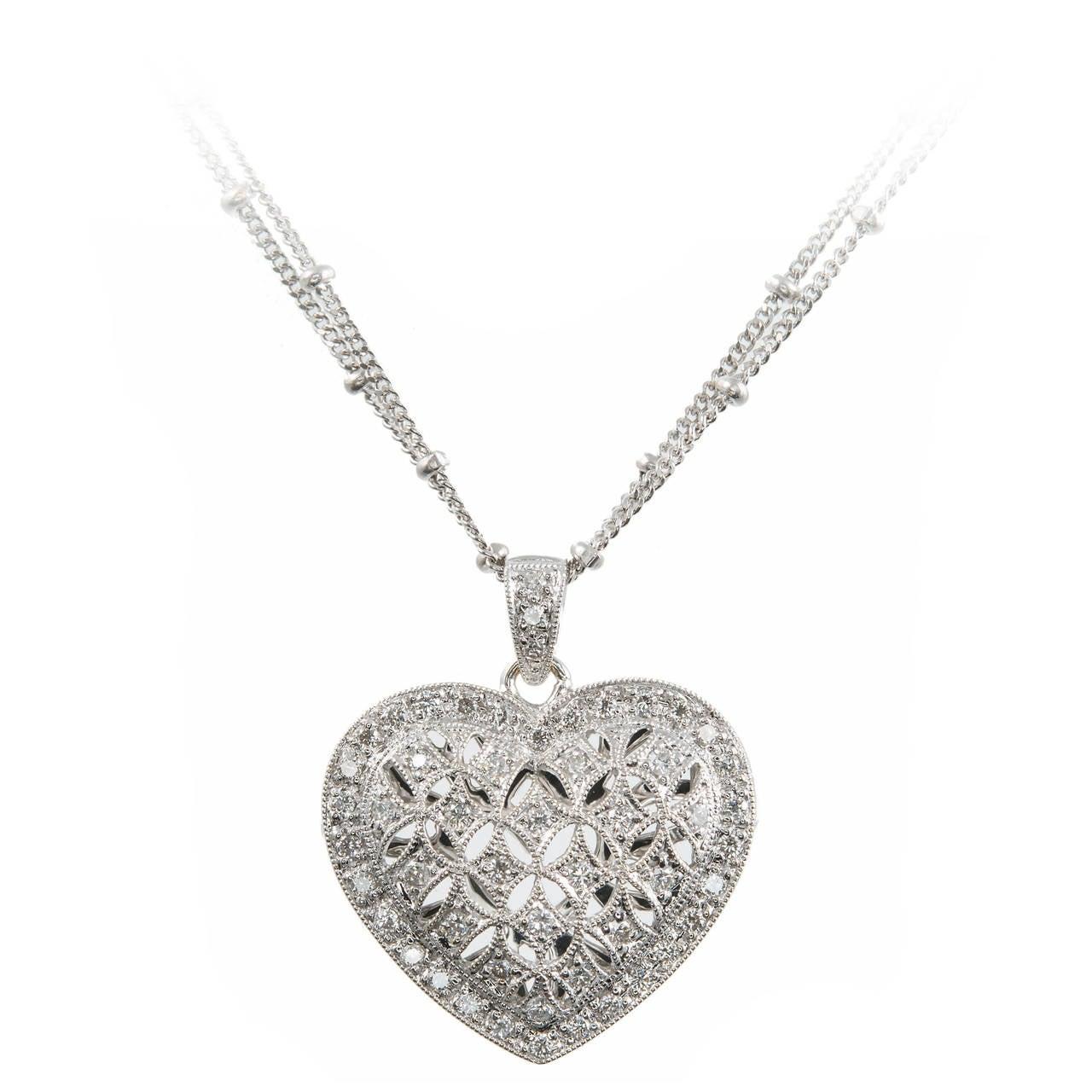 Diamond Gold Open Work Heart Locket Pendant Chain For Sale