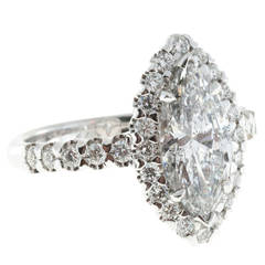 Peter Suchy Marquise Diamond Halo Platinum Ring
