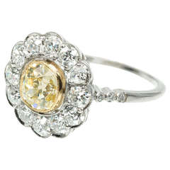 Natural Yellow Diamond Platinum Ring