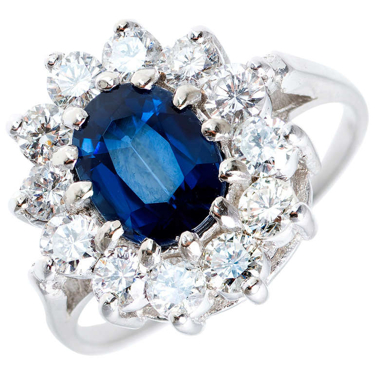GIA Certified 1.63 Carat Blue Sapphire Diamond Halo White Gold Engagement Ring For Sale