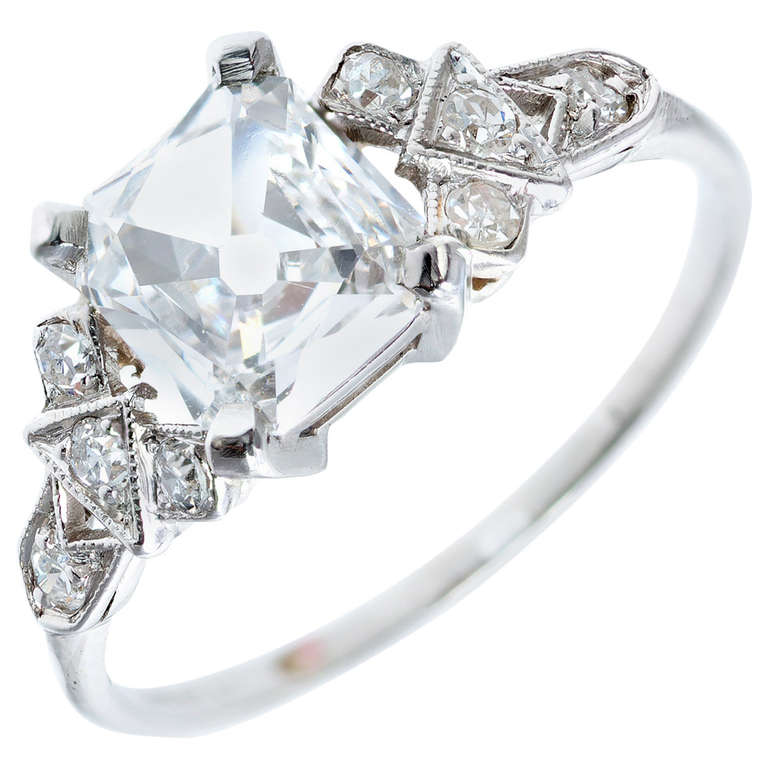Antique Square Cut Diamond Platinum Engagement Ring at 1stdibs
