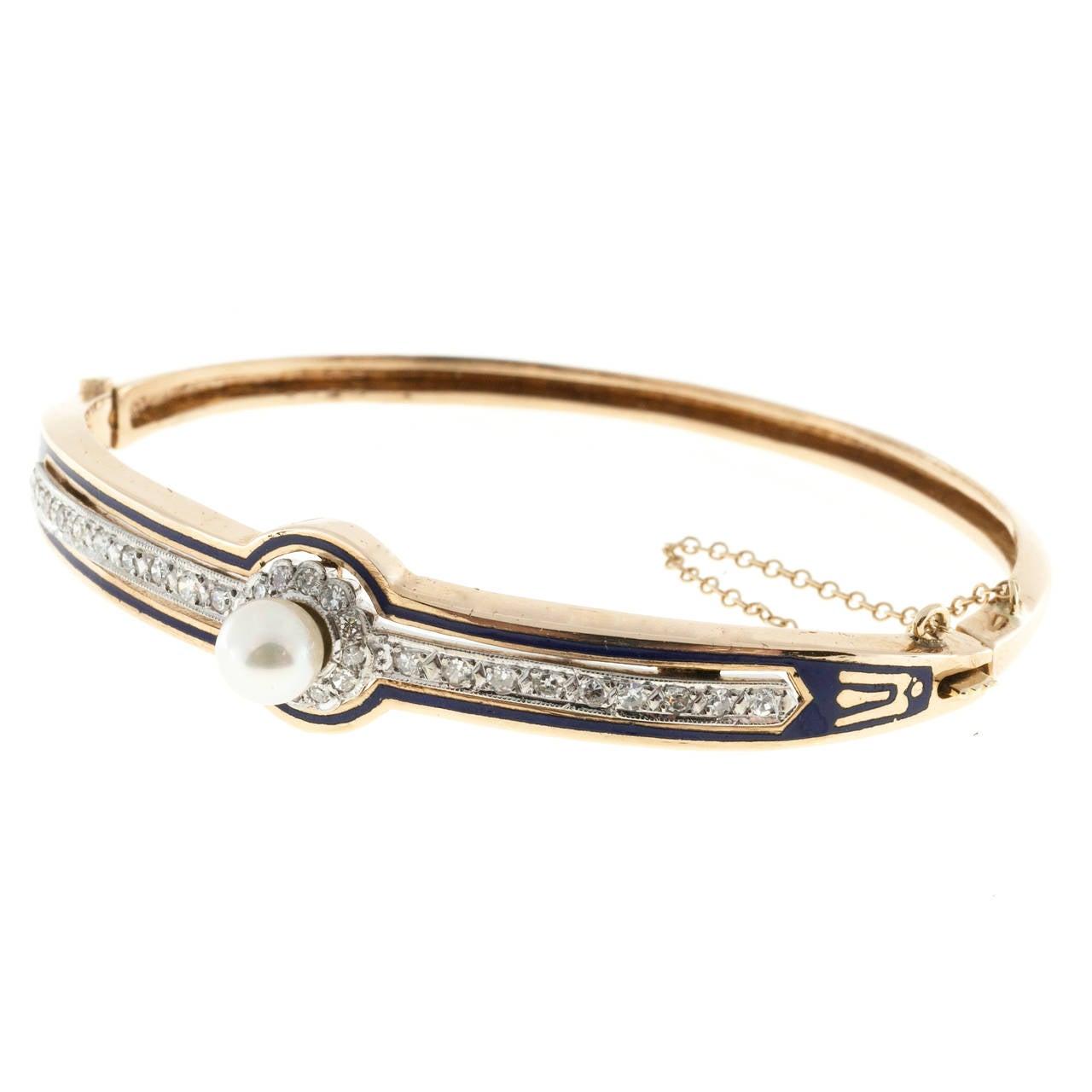 Pearl Diamond Blue Enamel Gold Bangle Bracelet At 1stdibs. Custom Letter Pendant. Trollbead Bracelet. Cheap Lockets. Maori Pendant. Half Heart Pendant. Platinum Wedding Band Sets. Dark Blue Gemstone. Guardian Angel Bracelet