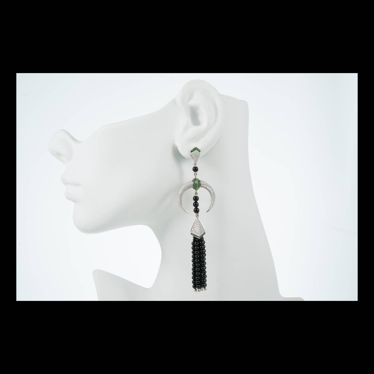 Shaun Leane Tribal Tsavorite Diamond Gold Dangle Earrings 6