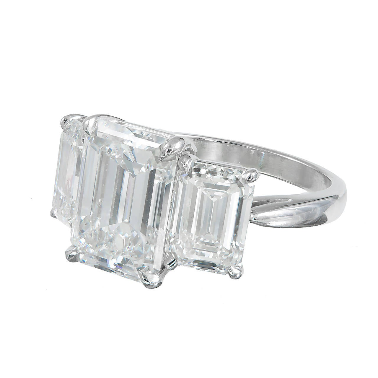 5 02 Carats Three Stone Emerald Cut Diamond Platinum Ring GIA Certified at 1