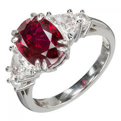Peter Suchy 2.96 Carat Red Oval Ruby Diamond Platinum Engagement Ring