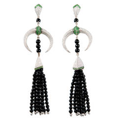 Shaun Leane Tribal Tsavorite Diamond Gold Dangle Earrings