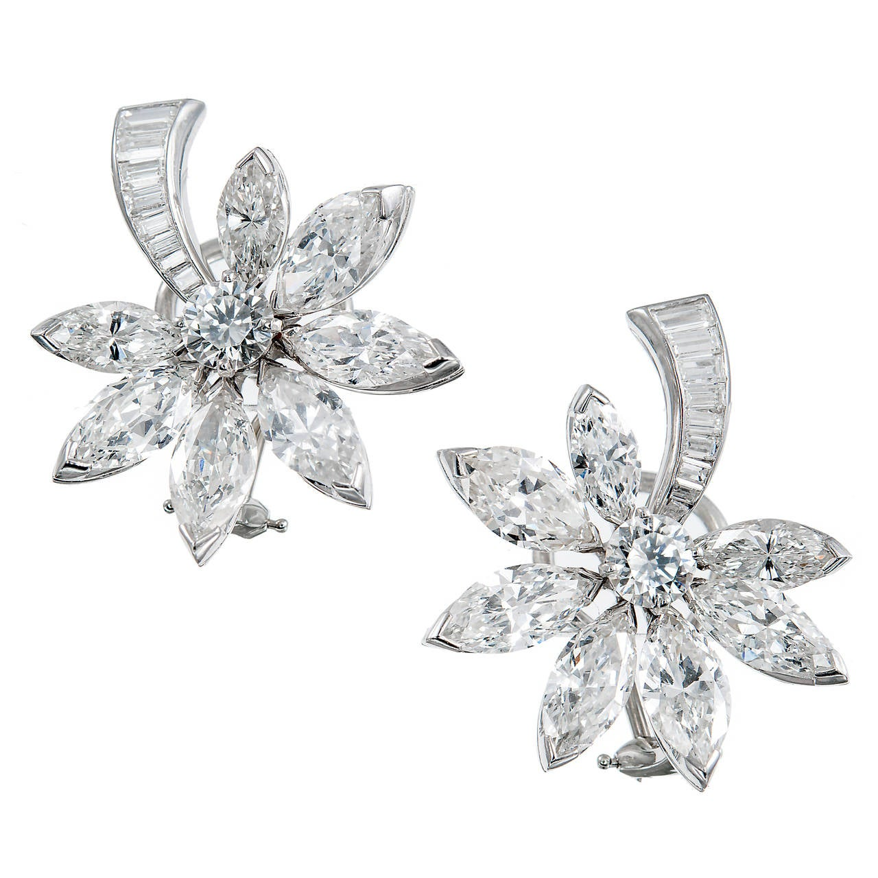 1950s Diamond Platinum Fireworks or Comet Earrings