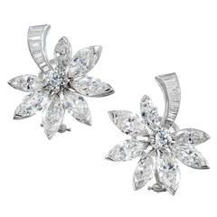 8.91 Carat Diamond Platinum Flower Clip Post Earrings