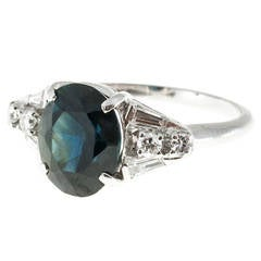 Natural Dark Blue Sapphire Diamond Platinum Ring