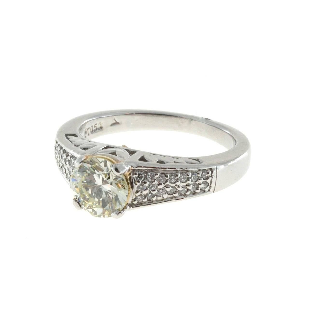Natural 1.12 Carat GIA Cert Green Yellow Round Diamond Platinum Engagement Ring