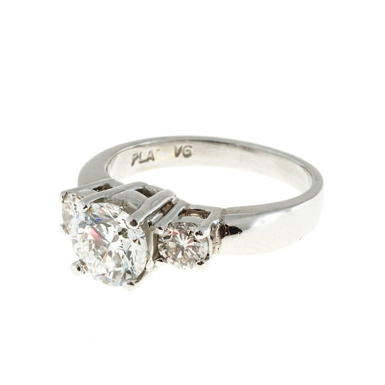 1.28 Carat GIA Cert Diamond Platinum Three Stone Engagement Ring