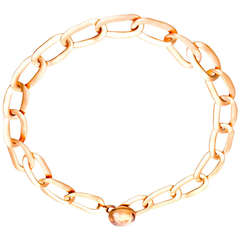 Pomellato Pink Gold and Quartz Oval Link Necklace