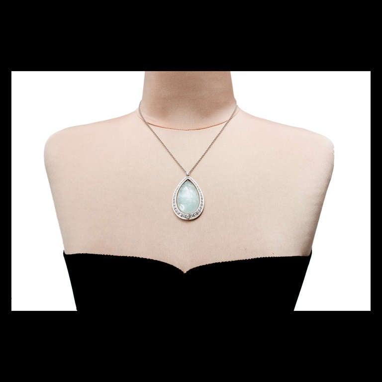 Women's 75.00 Carat Aquamarine Diamond Halo Platinum Pendant Necklace For Sale
