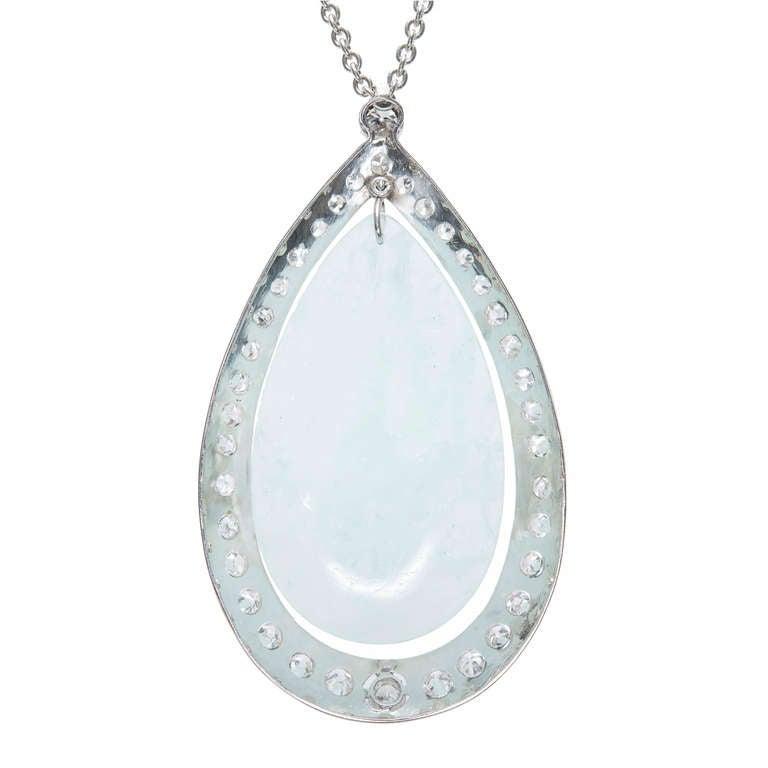 75.00 Carat Aquamarine Diamond Halo Platinum Pendant Necklace For Sale 1