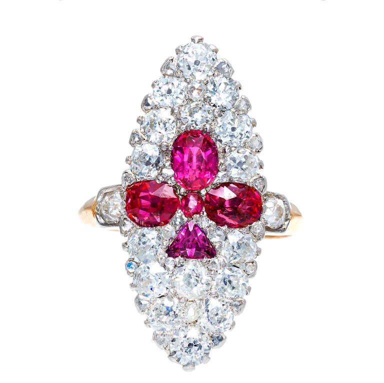 Natural Sapphire Diamond Fleur de Lis Gold Platinum Cocktail Ring
