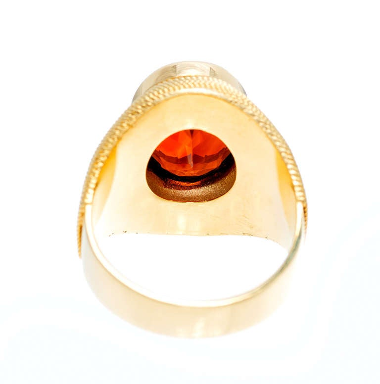 Bright Orange Citrine Yellow Gold Ring at 1stdibs